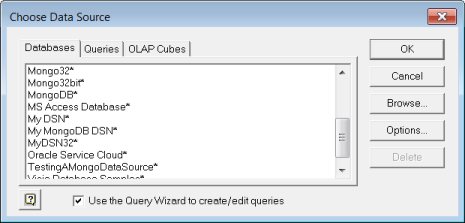 Accessing Data in Microsoft Excel from the Query Wizard
