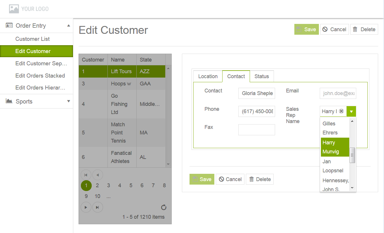 Adding and editing a Data-Grid-Form view
