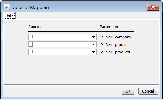 You Have One Input Parameter For Each Velocity Variable Listed Map The Company To A CHARACTER Dataslot Containing Name