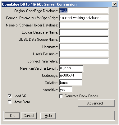 Running the OpenEdge DB to MS SQL Server utility